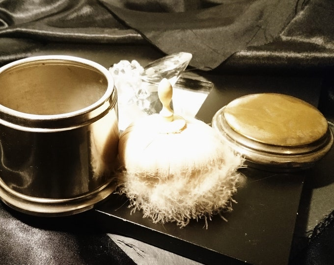 Antique silver plated powder pot, original powder puff, bone handle, marabou, Victorian cosmetics box
