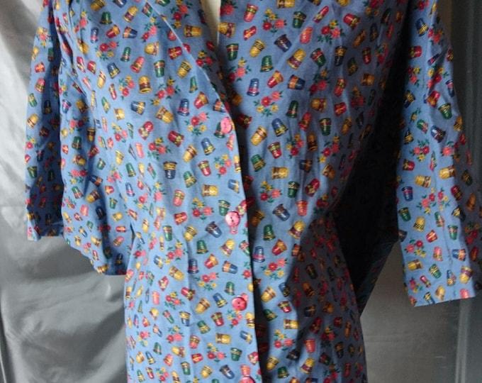 Vintage 40's blouse, hand sewn thimble blouse, cotton blouse, bakelite buttons, thimble print, Sale