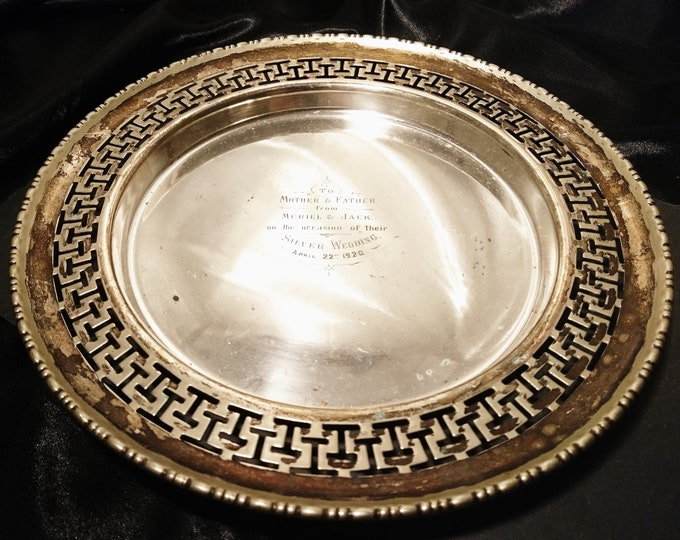 Vintage silver plated serving tray, 20's wedding anniversary plate, commemorative