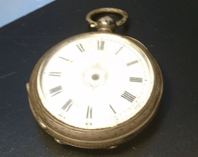 Antique edwardian ladies silver pocket watch, key wind, no key or hands, Non working