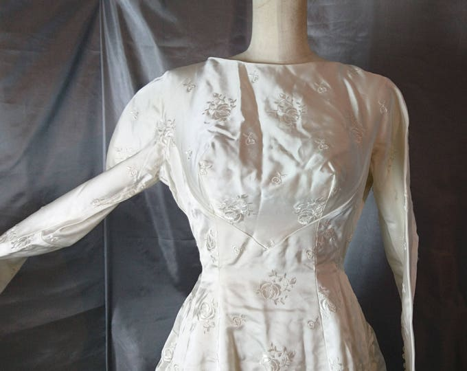 Vintage wedding dress, 1950's silk and satin wedding gown, huge rose bustle gown