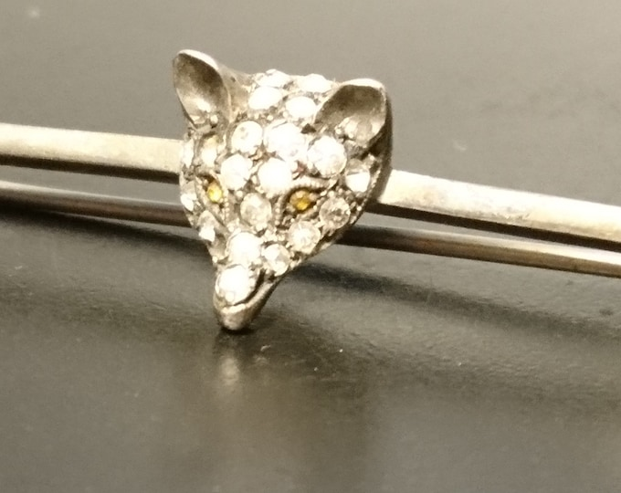 Antique silver, paste and citrine fox brooch, Victorian era fox bar pin