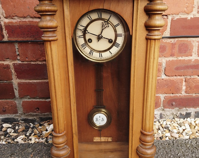 Antique Vienna style wall clock, German pendulum clock, pine cased, Regulator RA arrow, working with key