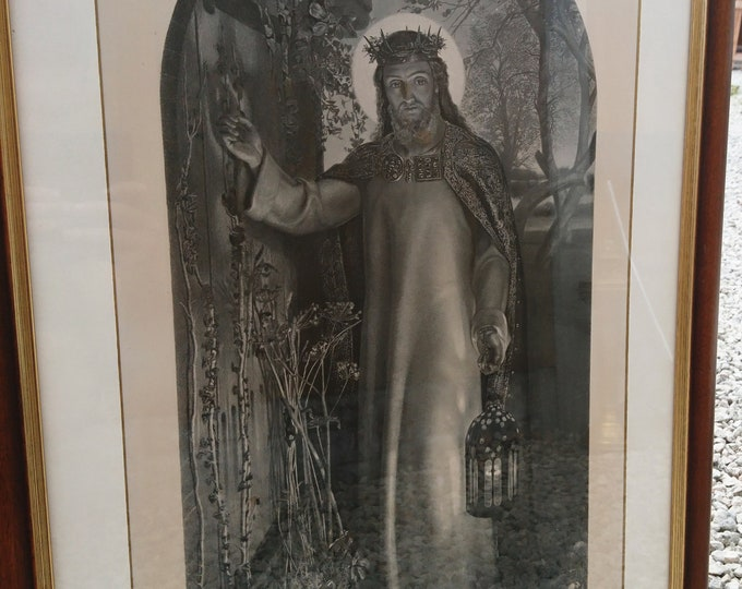 Antique print of Jesus, 1860, The Light of the World, Simmons after Hunt, Victorian era religious art