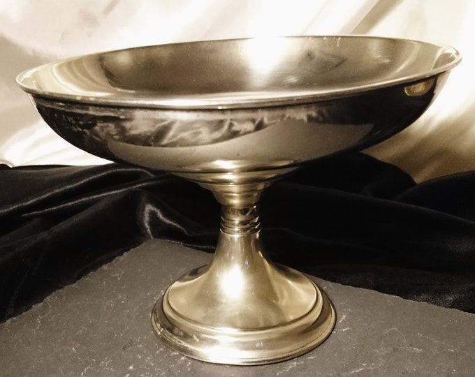 Antique silver plated tazza, Victorian pedestal bowl, James Dixon and Sons, centrepiece