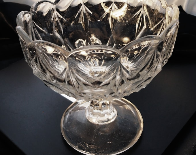 Victorian cut glass sweets / dessert bowl, lotus style pedestal bowl