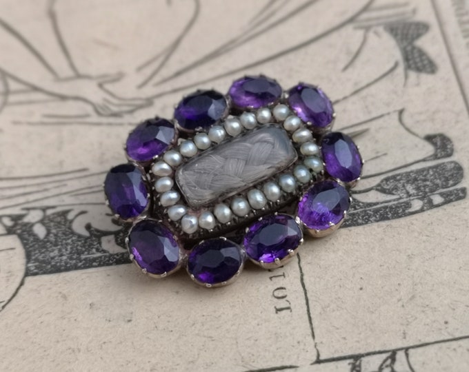 Antique mourning brooch,Georgian amethyst and seed pearl, hair verso, inscribed, 9ct gold