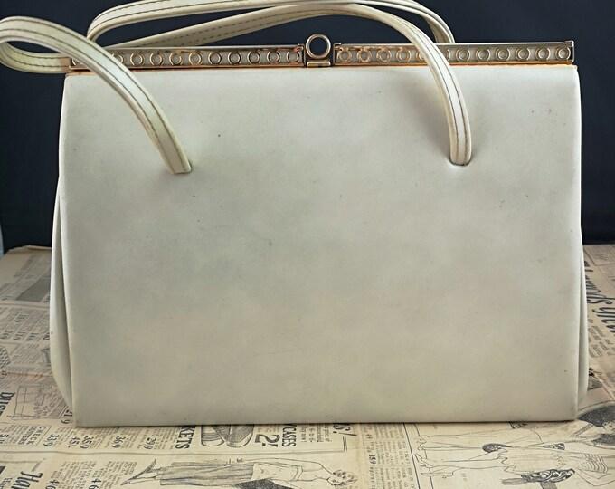 Vintage 50's handbag, cream leather, gold accents, A frame handbag