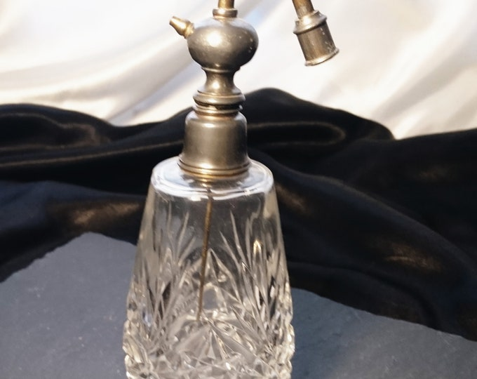 Victorian scent bottle, antique Crystal cut glass scent bottle, original atomiser