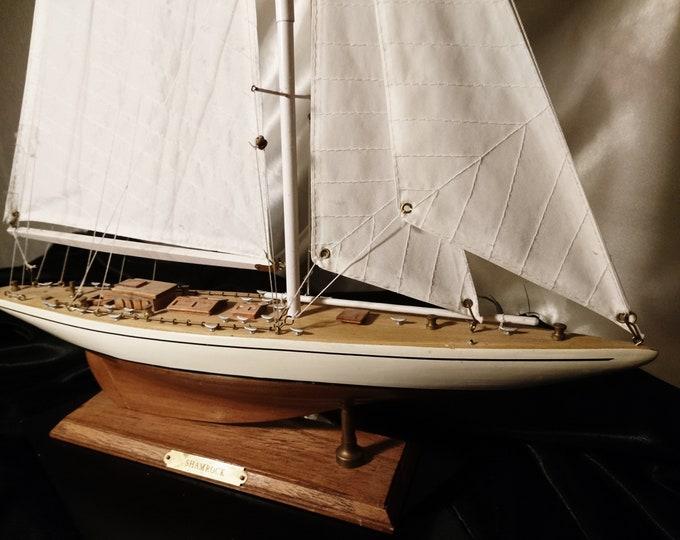 Vintage model boat, scratch built Shamrock yacht, America's Cup, scale model