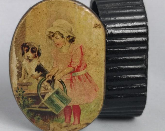 Antique snuff box, papier mache, dog and girl, Victorian