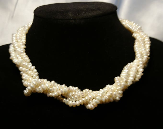 Vintage pearl necklace, 20's Art Deco 5 strand rice pearl choker