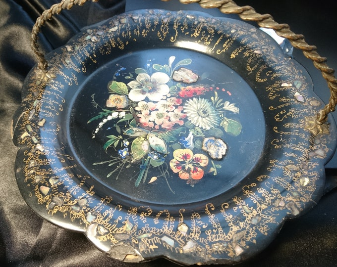 Victorian papier mache card tray, gilt and inlaid mother of pearl, hand painted, gilt brass handle