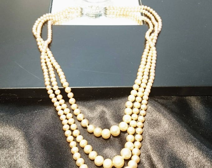 Vintage 50's faux pearl necklace, triple strand, bead necklace