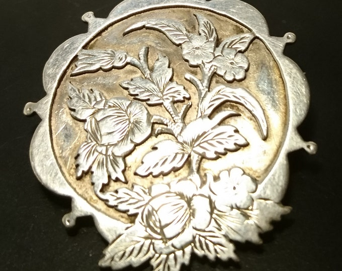 Large Victorian aesthetic brooch, antique sterling silver floral brooch