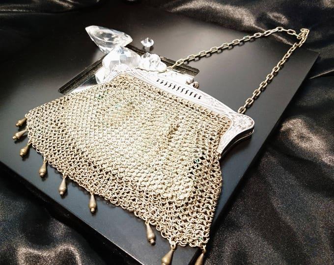 Art nouveau mesh evening bag, chain mail purse, pierced frame, kid leather lined, G silver, antique mesh purse