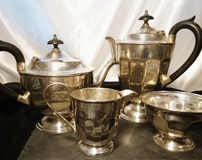 Antique silver plated tea set, 4pcs, Edwardian era, teapot, coffee pot, creamer and sugar bowl