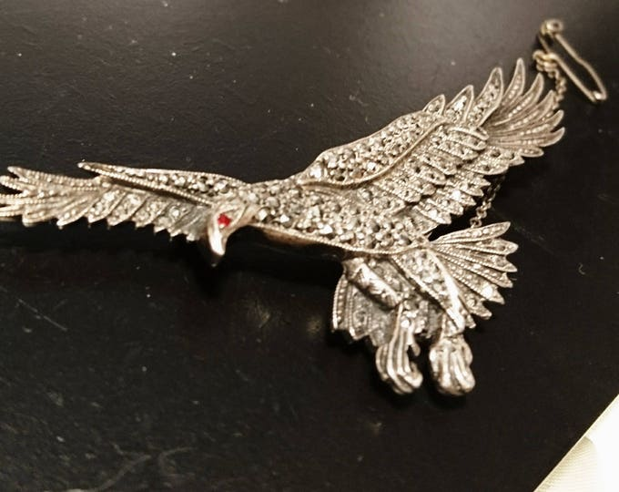 Beautiful vintage 30's Large marcasite eagle brooch, sterling silver and marcasite, red stone eye