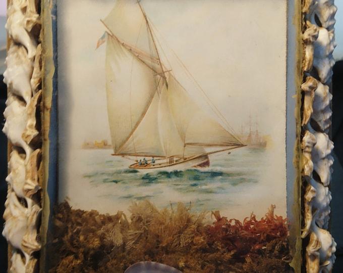 Antique seashell picture, seashell frame, Victorian shell work, diorama, sailors valentine
