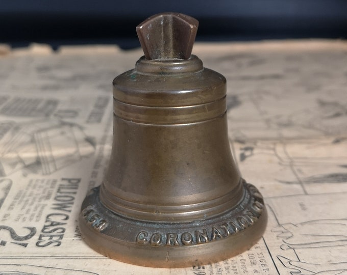 Vintage brass bell, Queens coronation, Royal memorabilia, 1950's