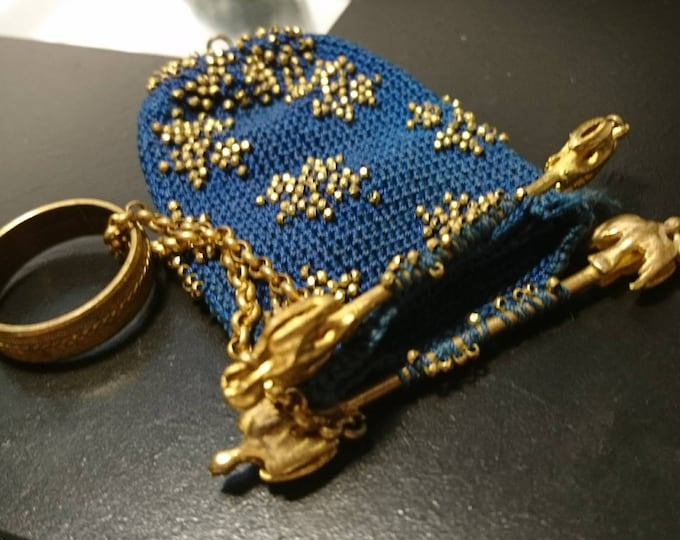 Antique evening purse, French antique gilt and beadwork purse, belle epoque, excuisite