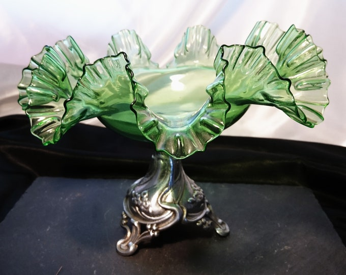 Antique green glass centrepiece, silver plated pedestal bowl, Art Nouveau brides bowl