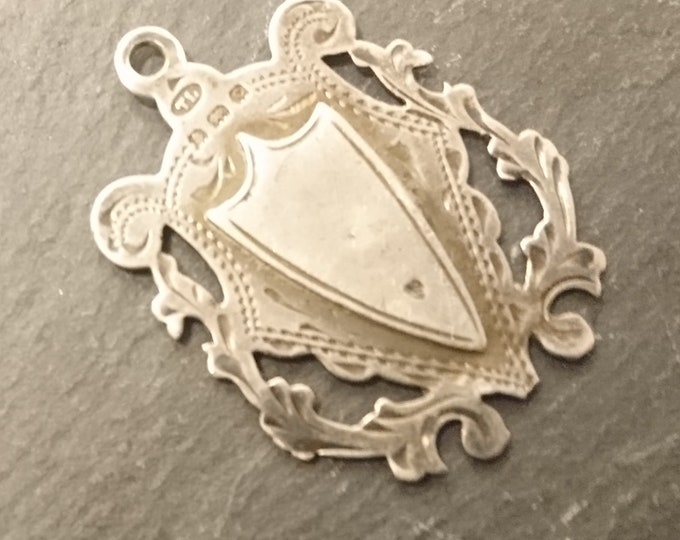 Antique silver fob, watch fob, albert chain fob, blank cartouche, fully hallmarked, shield fob