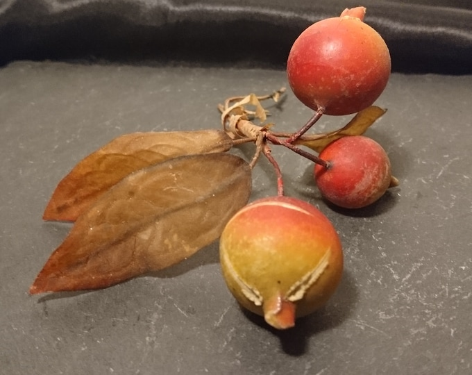 Victorian millinery decoration, Rosehip and leaves, antique wax berries, hat decoration