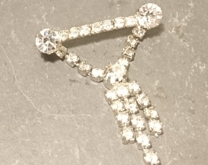 Vintage 50's diamanté brooch, sparkly rhinestone, dangly brooch