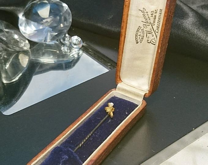 Antique gold stick pin, Edwardian seed pearl, cravat pin, original case