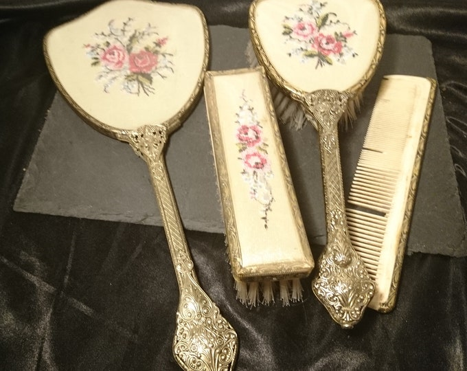 Vintage 1930's petit point vanity set, gilt brass and embroidery, Delina brand