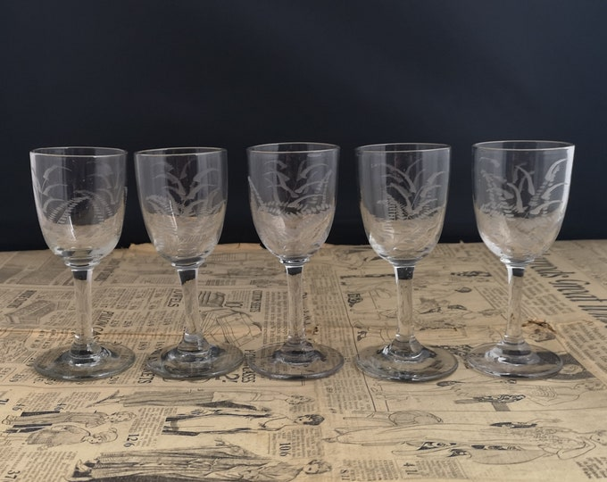 Antique sherry glasses, set of 5, liqueur, toast, Victorian drinking glasses, etched fern design