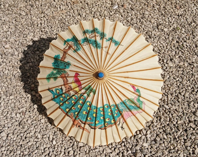 Vintage Chinese parasol, paper and lacquered bamboo, peacock print