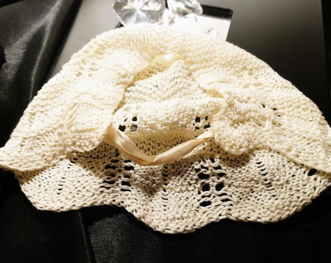 Vintage baby bonnet, 1920's crochet baby bonnet