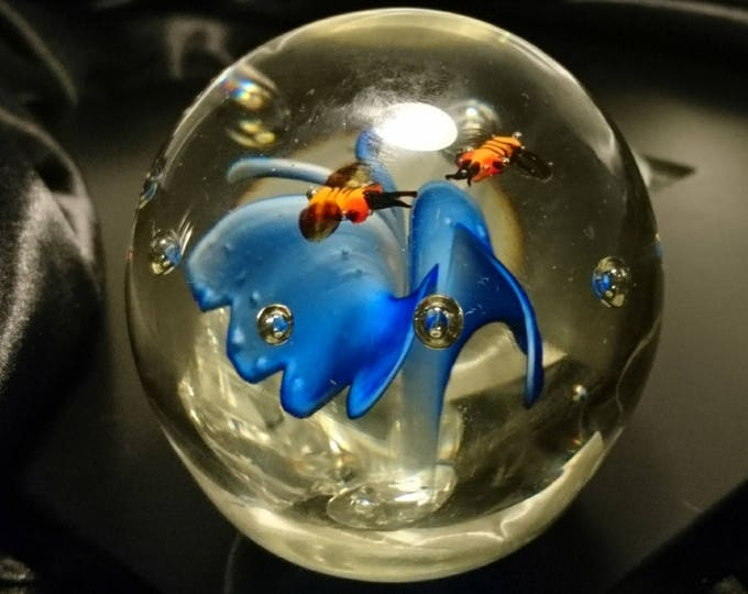 Vintage glass art paperweight, collectable glass art, floral design with insects, collectable paperweights