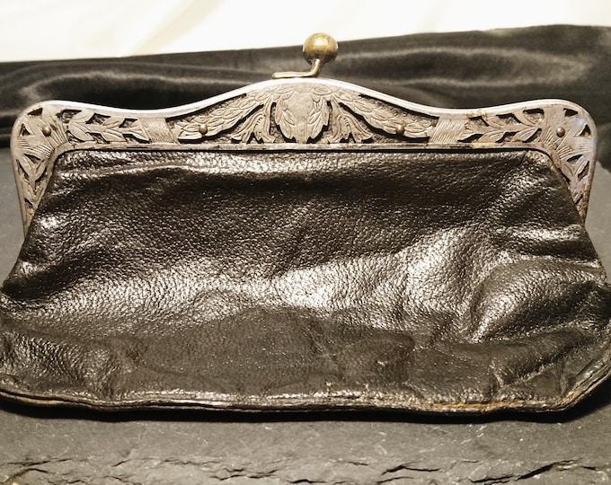 Antique leather coin purse, Art Nouveau silver plated frame, kiss lock clasp