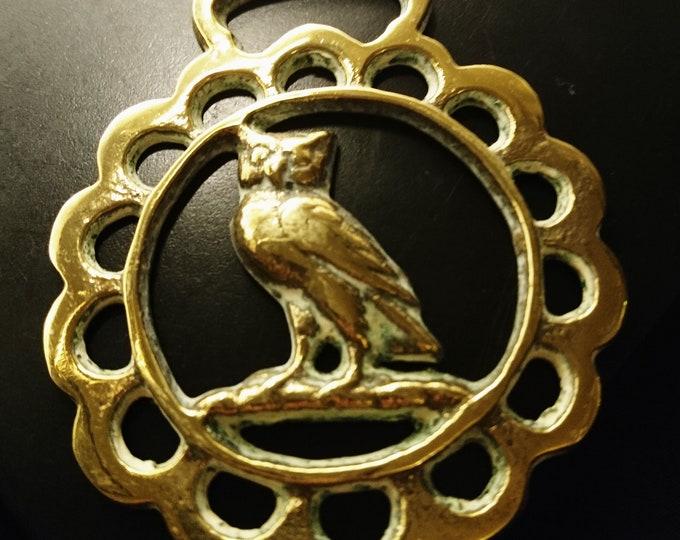 Victorian horse brass, owl design antique horse brass