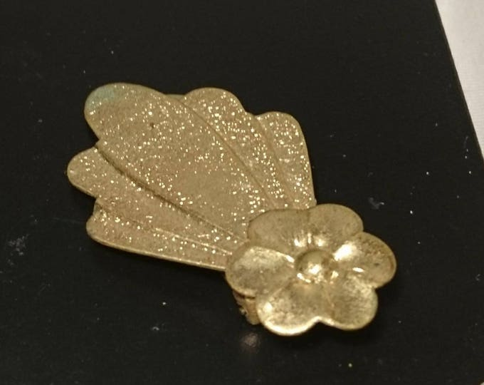 Vintage 50's dress clip, gold tone floral clothing clip