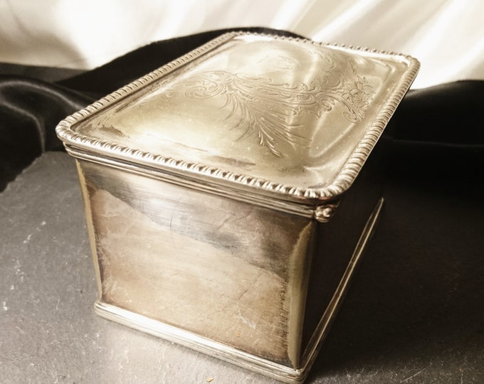 Antique silver plated tea caddy, double tea caddy, Victorian, tea storage