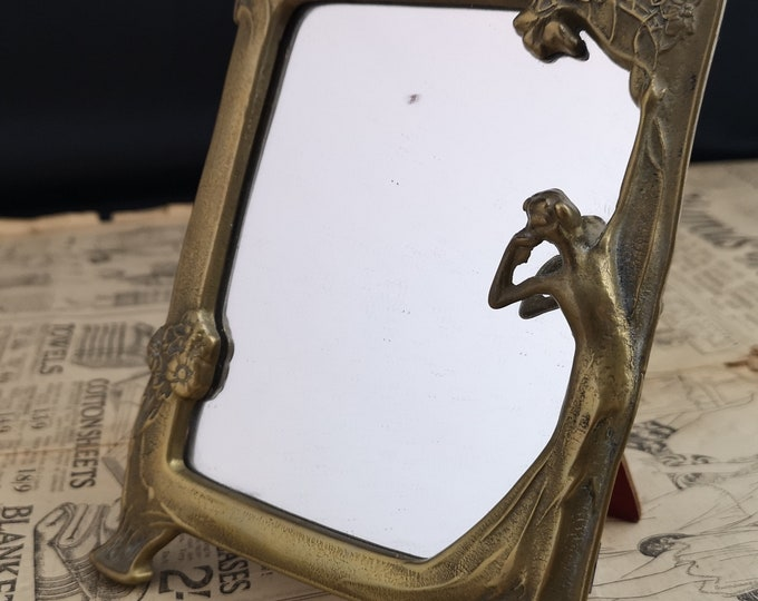 Art Nouveau style mirror, vintage brass standing mirror, easel back, dressing table