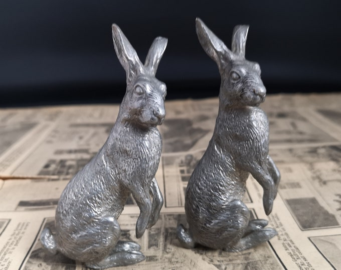 Vintage pewter hare ornaments, pair of hares, animal figures