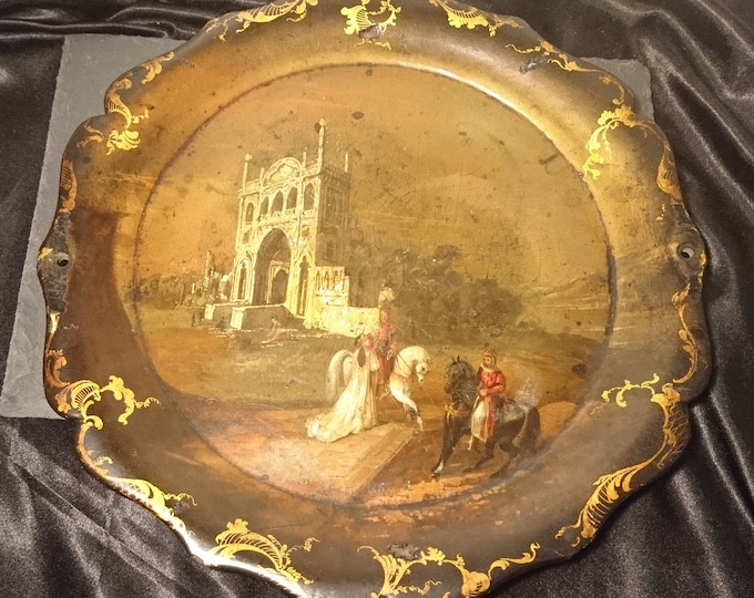Early Victorian papier mache tray, gilt and hand painted, scene, figures and medieval ruins, signed
