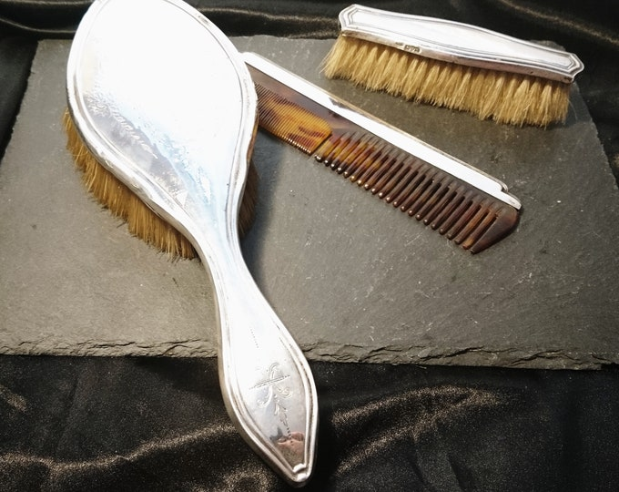 Vintage sterling silver vanity set, faux tortoiseshell, silver hairbrush, brush set, dressing table