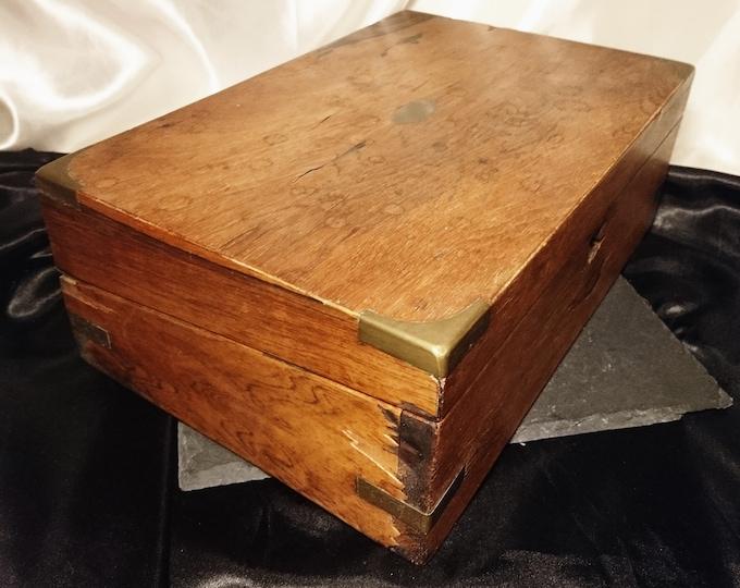 Rustic Antique writing box, Victorian work box, brass bound