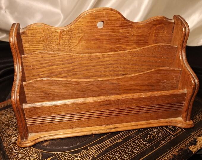 Antique oak letter rack, Edwardian carved wood letter stand, letter holder