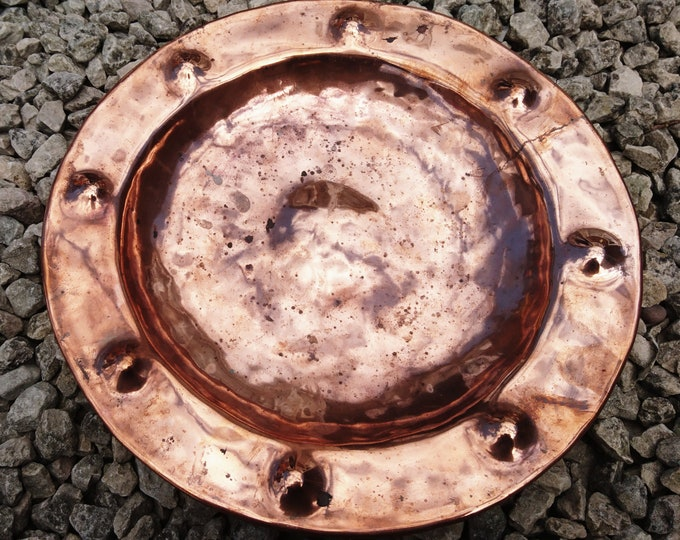 Antique copper charger, hand hammered, rustic decor, riveted copper plate