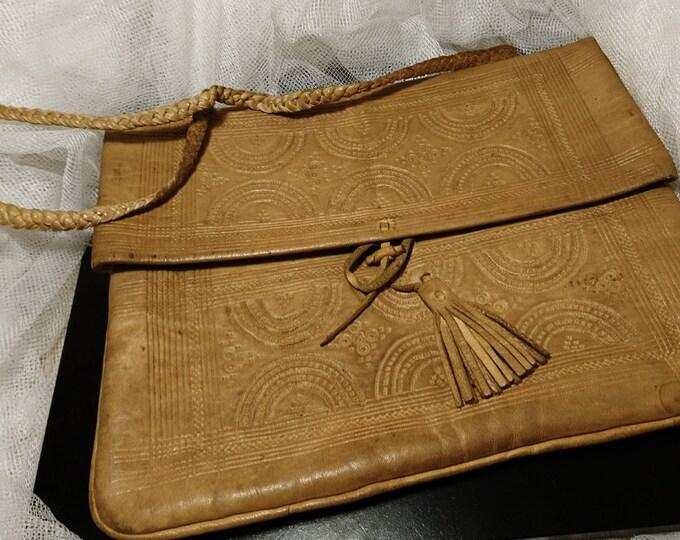 Antique camel leather handbag, soft camel leather ladies handbag, early 20th century, edwardian handbag