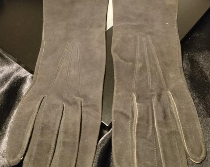 Edwardian kid leather gloves, Dents gloves, charcoal grey, soft leather antique gloves