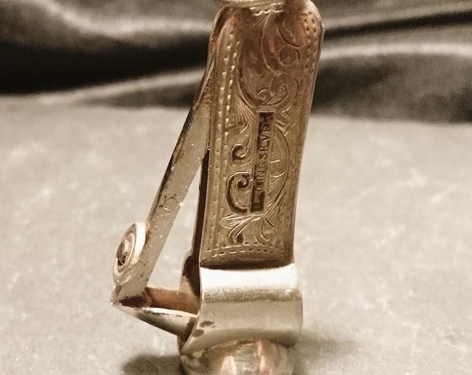 Antique sterling silver cigar cutter, fob chain cigar cutter, engraved
