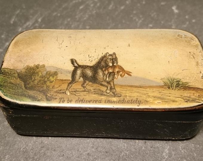Rare Georgian snuff box, papier mache, dog and rabbit, hunting, hand painted